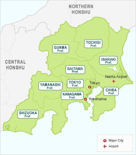 Japan Around Tokyo Region Map Hotels In Japan Search Your - Japan map yokohama tokyo