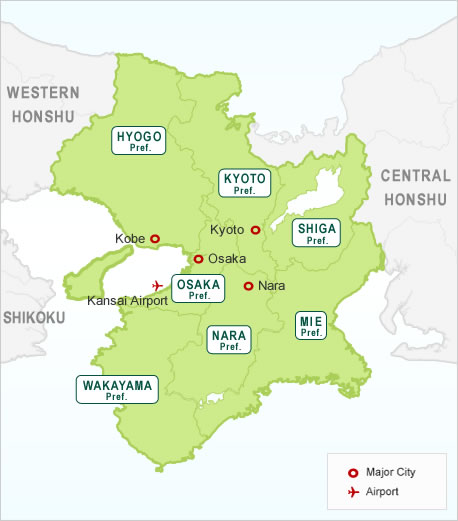 Japan Kansai Region Map Hotels In Japan Search Your Hotels - Japan map nara