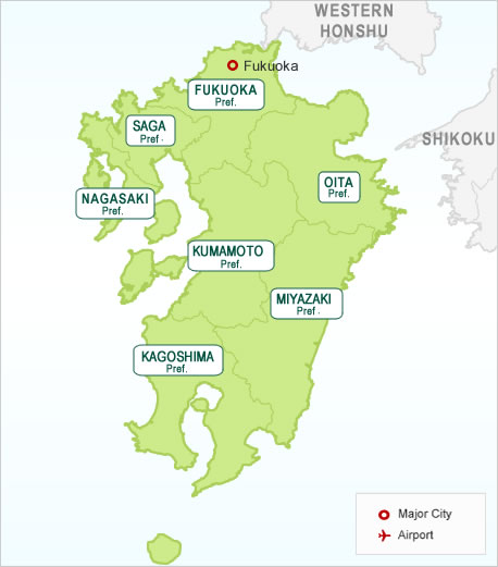 Japan Kyushu Region Map Hotels In Japan Search Your Hotels - Japan map by region