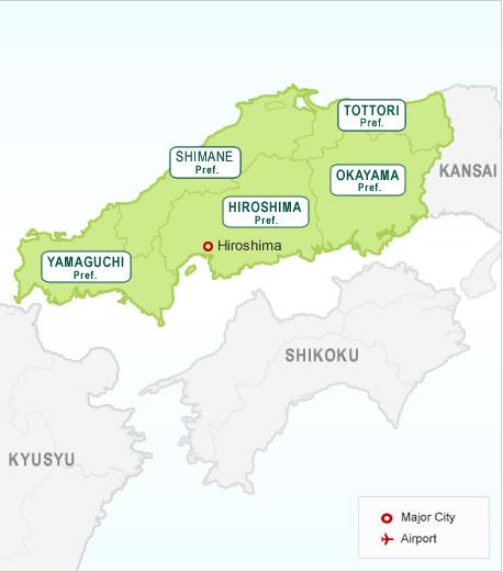 Japan Western Honshu Region Map | Hotels in Japan. Search ...
